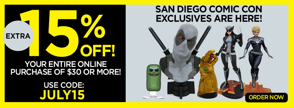 Save 15% off Purchases of $30 or More with Coupon Code JULY15. Shop 2019 San Diego Comic Con Exclusives!
